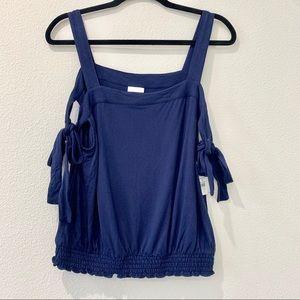 Women's blue strap tank top